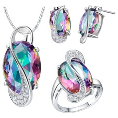 15-New-Bridal-Jewelry-Sets-925-Sterling-Silver-Crystal-Necklace-Set-Earrings-Ring-Wedding-Jewelry-Purple